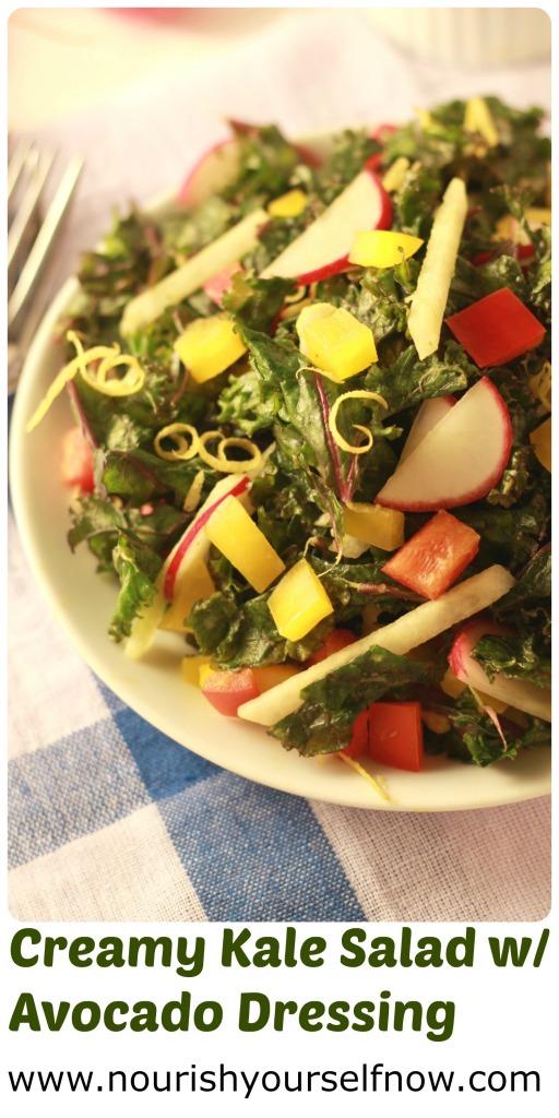 Creamy Kale Salad w/Avocado Dressing/nourishyourselfnow.com