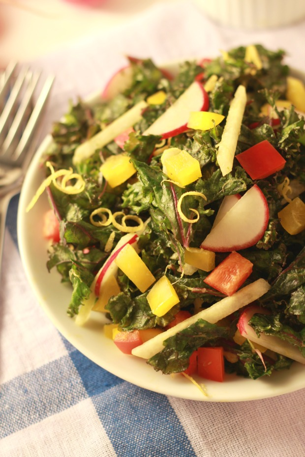 Creamy Kale Salad with Avocado Dressing/nourishyourselfnow.com